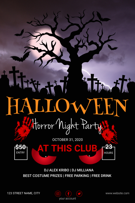 Happy Halloween Party Poster Template Banner 4' × 6'