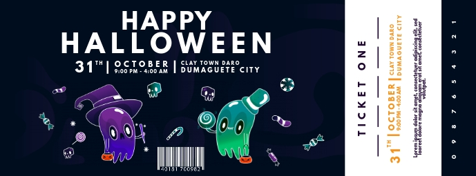 Happy Halloween Party Ticket Template