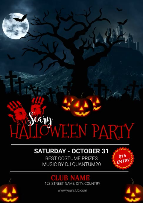 Happy Halloween Party Video Invitation Templa A4 template