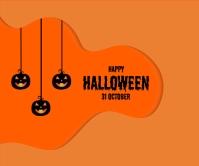 Happy Halloween Pumpkin Bat Grote rechthoek template