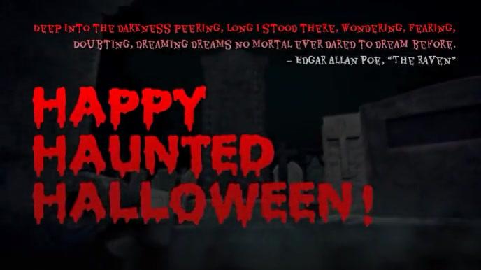 HAPPY HAUNTED HALLOWEEN Edgar Allen Poe The R Affichage numérique (16:9) template