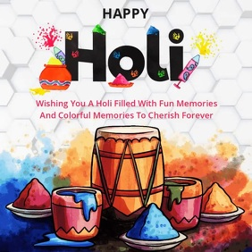 HAPPY HOLI CARD SOCIAL MEDIA TEMPLATE