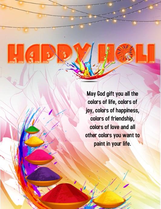 Happy Holi Folder (US Letter) template