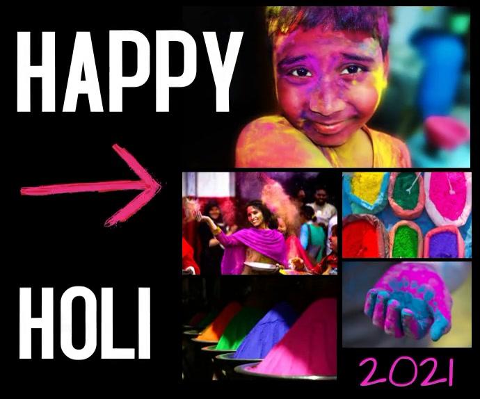 happy holi/diwali/festival/India/spring party Mellemstort rektangel template