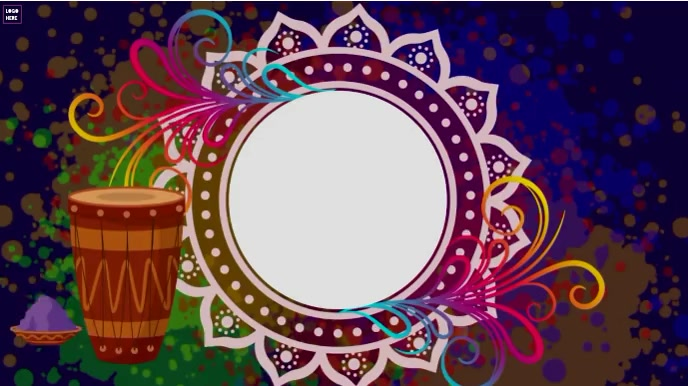 Happy Holi Wishes Animation video 数字显示屏 (16:9) template