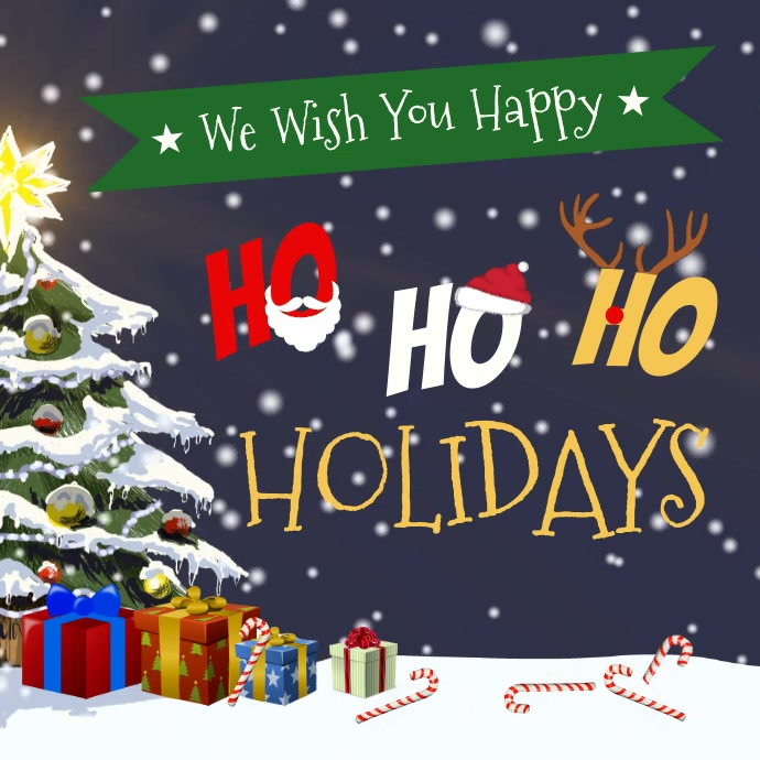 Happy Holidays Greeting Card Square Video Cuadrado (1:1) template