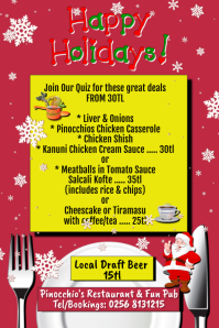 Happy Holidays Meal Deal Menu Specials