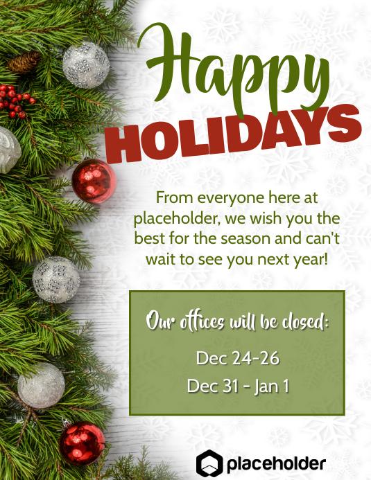 Happy Holidays Office Closure