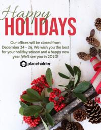 Happy Holidays Office Closure - Holly/Cones