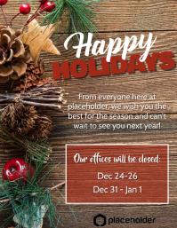 Happy Holidays Office Closure - Pine Cones