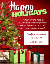 Happy Holidays Office Closure - Red Tree