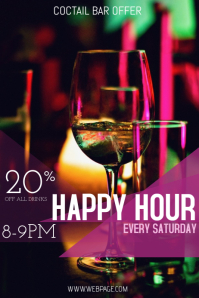 happy hou bar drinks flyer template