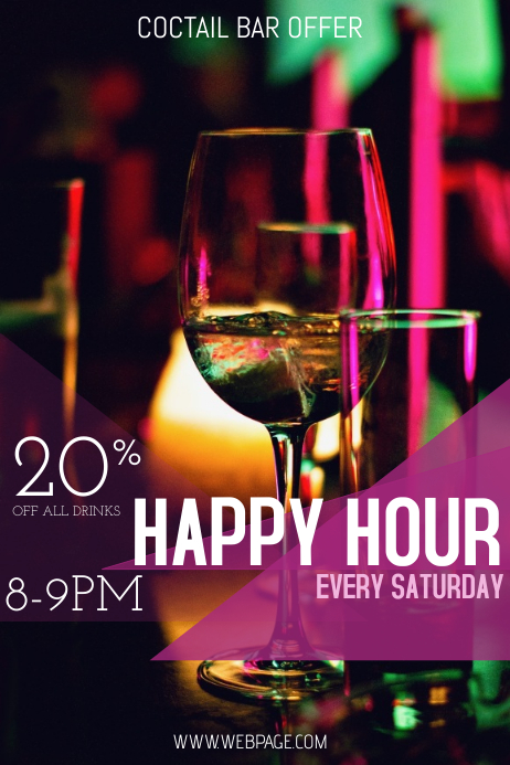 happy hou bar drinks flyer template Affiche