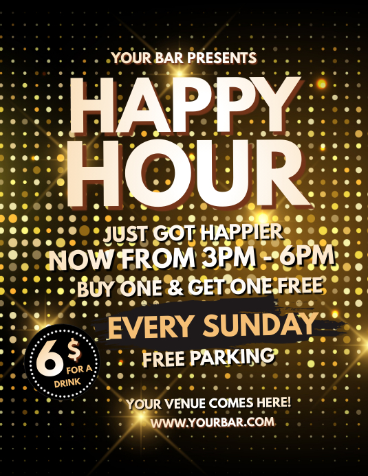 Happy Hour, Bar Flyer, Cocktail Party