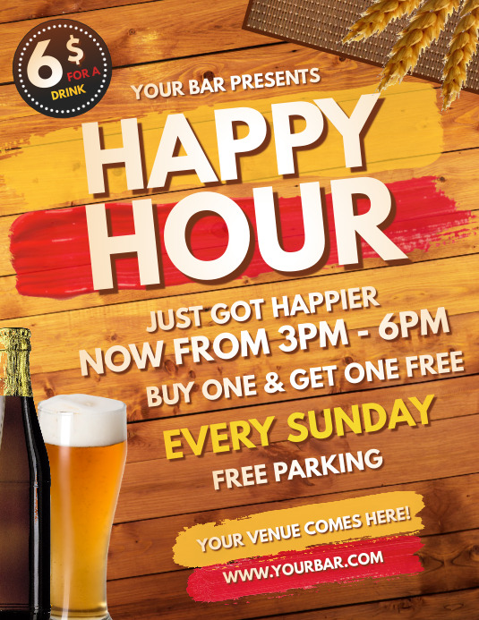 Happy Hour, Bar Flyer, Cocktail Party Folder (US Letter) template