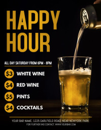 Happy Hour, Bar Flyer, Cocktail Party Løbeseddel (US Letter) template