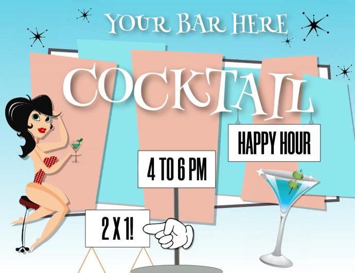 HAPPY HOUR (WITH OPTIONAL CHILL MUSIC) Ulotka (US Letter) template