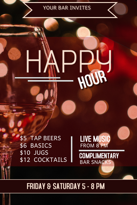 Happy Hour Bar Flyer Template  Postermywall