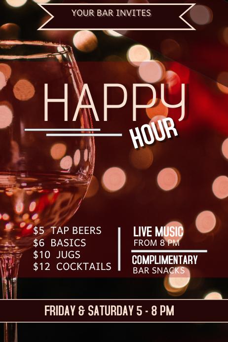 happy hour, bar flyer