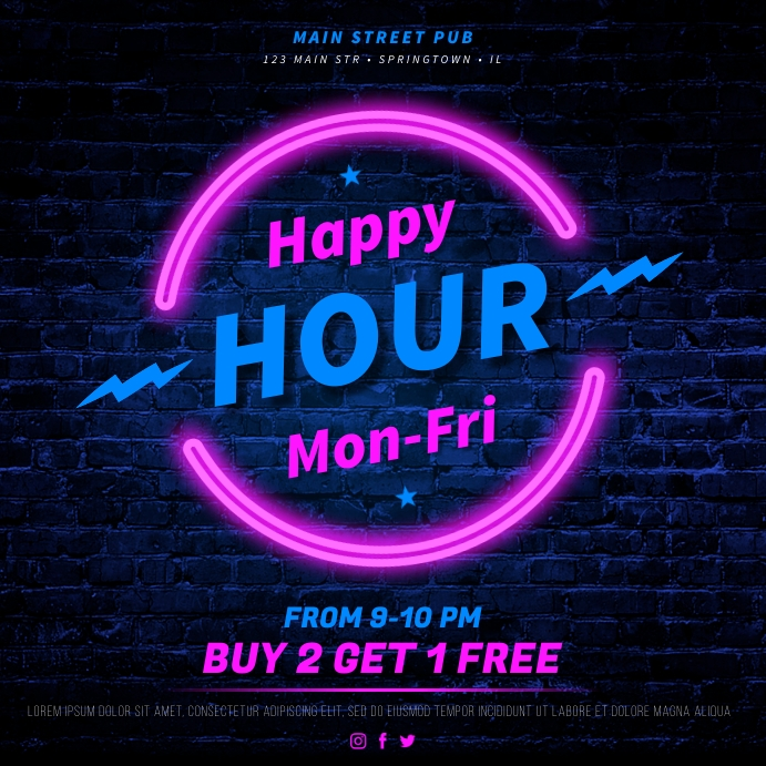 HAPPY HOUR BANNER Instagram-opslag template