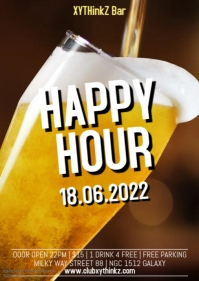 Happy Hour Bar Club Party Event Drinks Cocktails Offer Promo