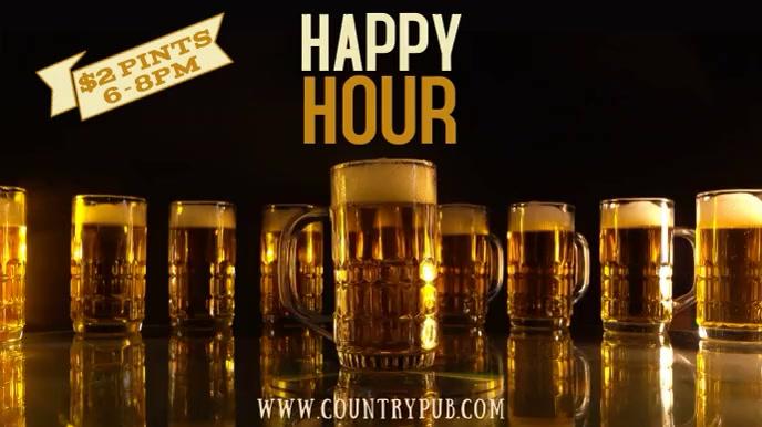 Happy Hour Bar Digital Template Digitale display (16:9)