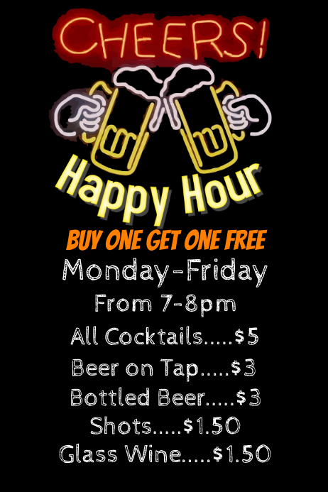 Happy Hour Bar Flyer Poster Template  Postermywall