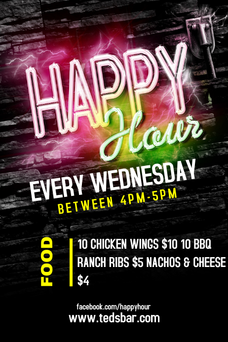 Happy Hour - Bar Flyer Template Poster