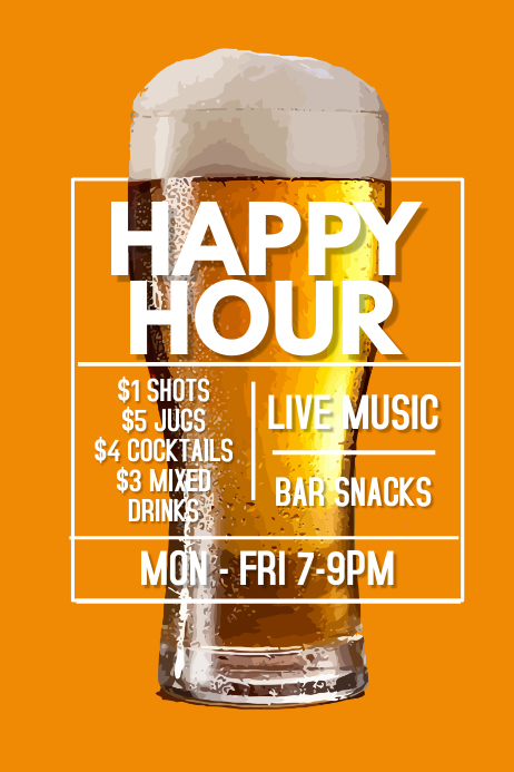 happy hour bar promo poster template postermywall