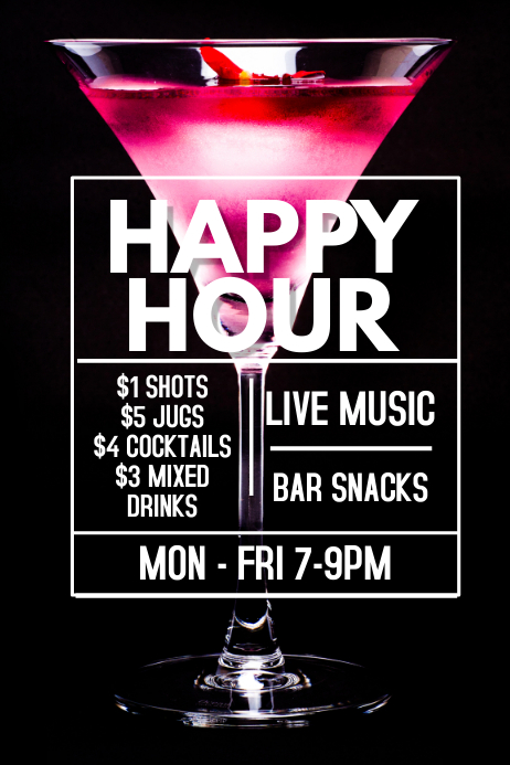 Happy Hour Bar Promo Poster Template