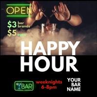 Happy Hour Bar Social Post Publicación de Instagram template