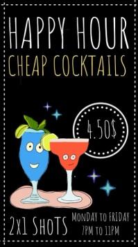 Happy Hour Bar Video Template Ekran reklamowy (9:16)