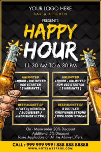 Happy Hour Beer Offer Template Poster