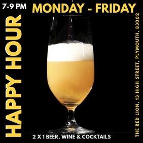 Happy Hour Cafe Bar Pub Menu Template