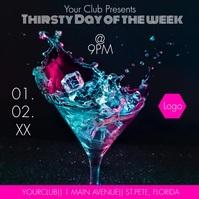 Happy Hour Club Social Media Ads Neon Instagram Post template