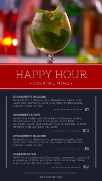 Happy Hour Cocktail Menu Portrait Digital Display Video