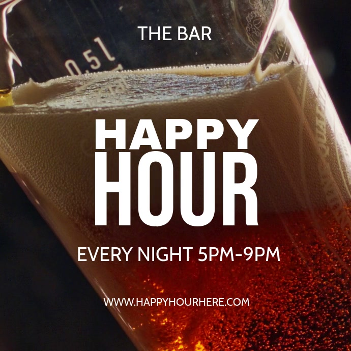 happy hour โพสต์บน Instagram template