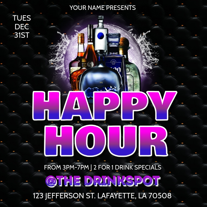 Happy Hour Drink Special Flyer Template Postermywall