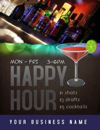 happy hour drink specials flyer template