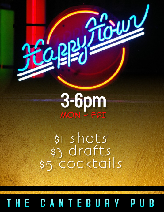 Happy Hour Drink Specials Flyer Template Postermywall