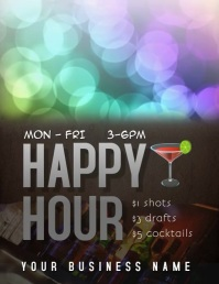 happy hour drink specials video ad Flyer (US Letter) template