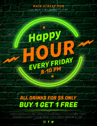 HAPPY HOUR FLYER Volante (Carta US) template