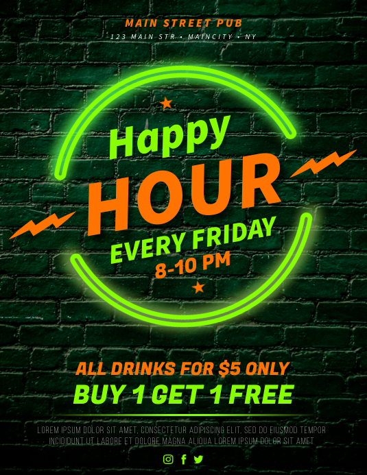 HAPPY HOUR FLYER Løbeseddel (US Letter) template