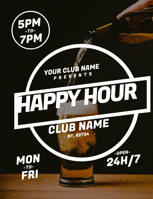 Happy Hour Flyer 传单(美国信函) template