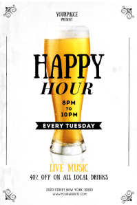 Happy Hour Flyer Template 4x6in Баннер 4' × 6'