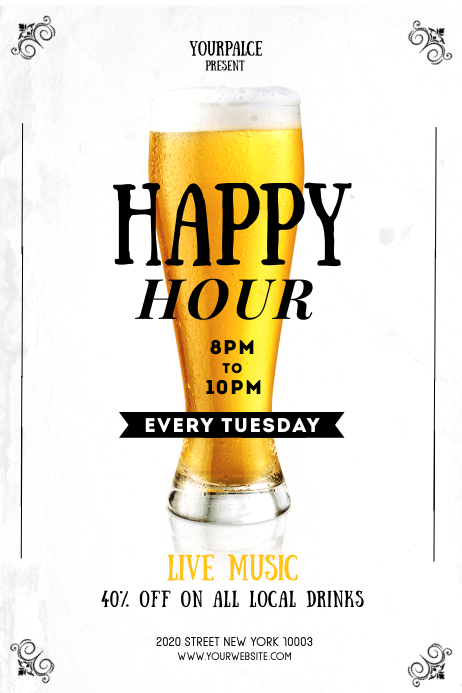Happy Hour Flyer Template 4x6in Banner 4' × 6'