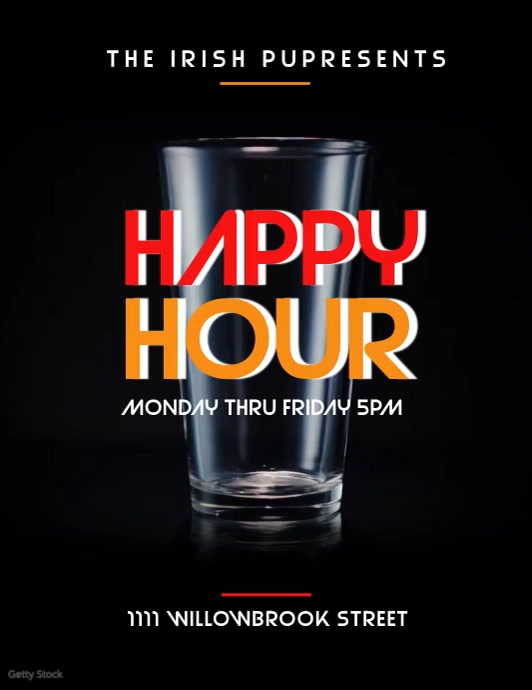 HAPPY HOUR Flyer (Letter pang-US) template