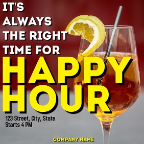happy hour instagram post advertisement Logo template