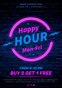 HAPPY HOUR POSTER A4 template