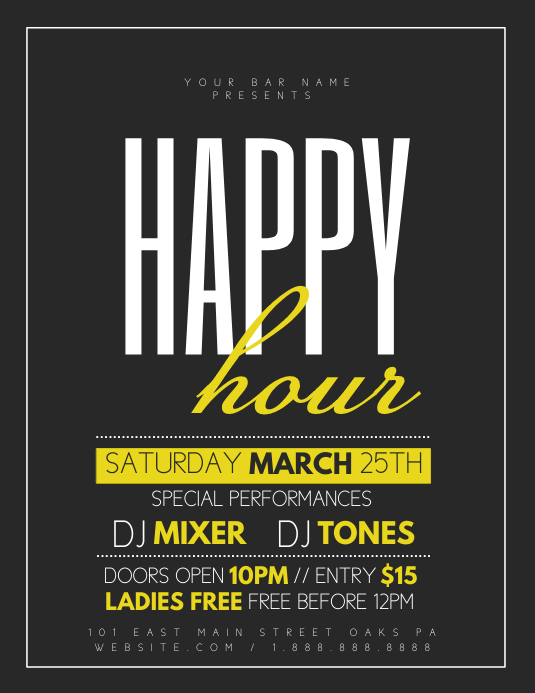 Happy Hour Pamflet (Letter AS) template